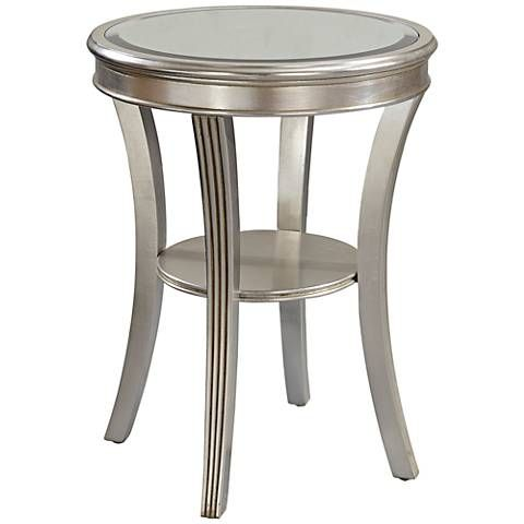 Brookhurst 20 Wide Kenney Silver Leaf Round Accent Table 1f884