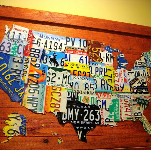 DIY License Plate Map of USA License plates Craft and License