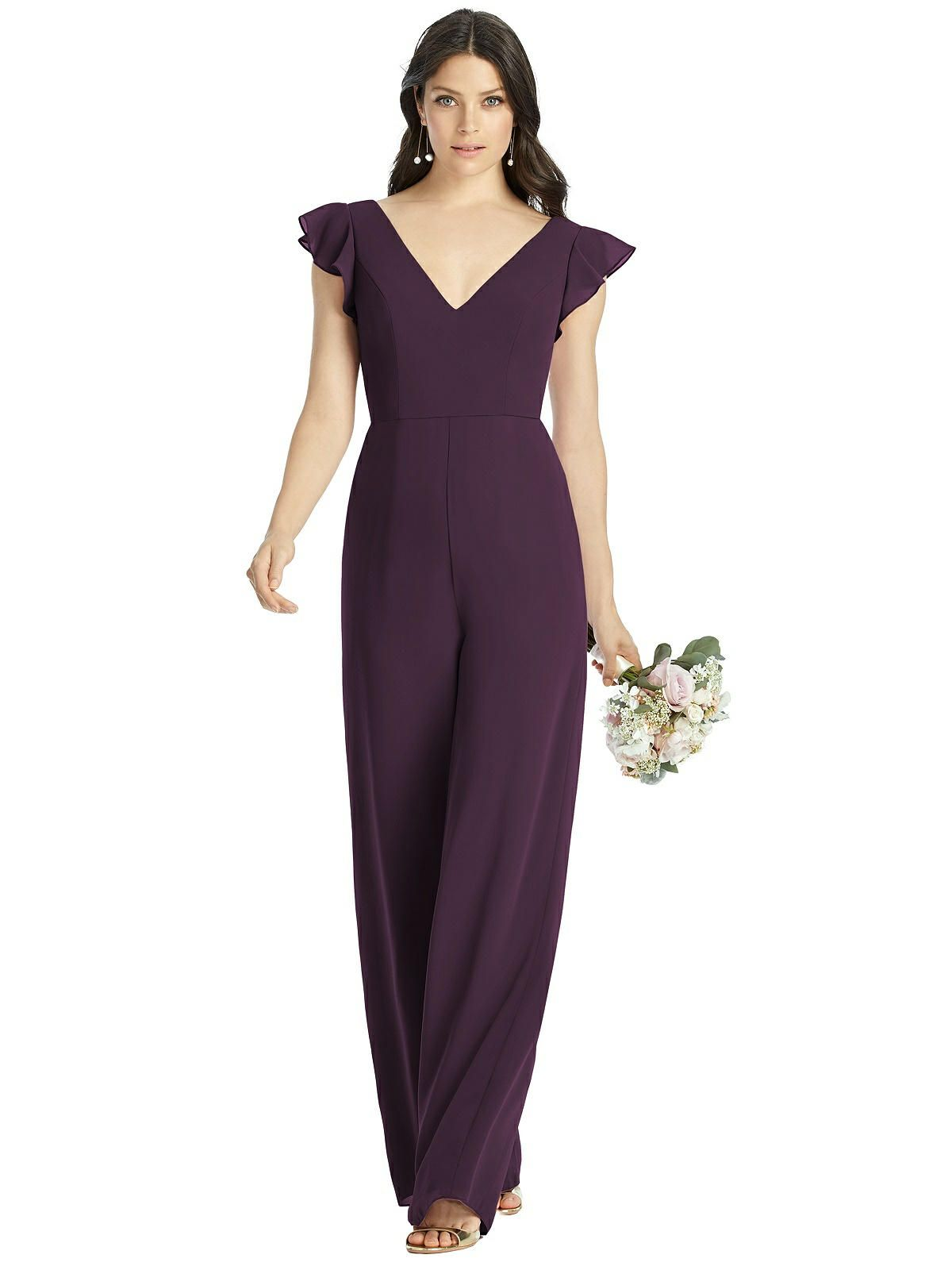Adelaide Low V-Back Ruffle Sleeve Jumpsuit #bridesmaidjumpsuits