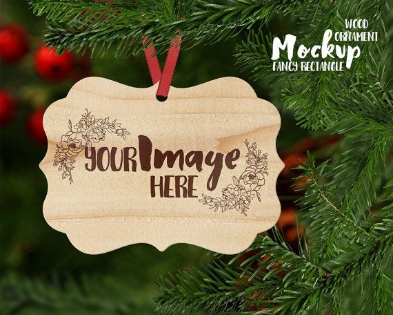 Rectangle fancy border WOOD Christmas by styledproductmockups