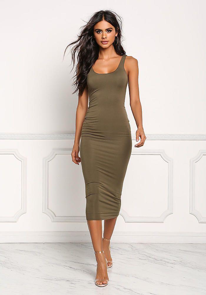 Junior Clothing Olive Midi Bodycon Dress Midi Dress Bodycon Bodycon Dress Bodycon Dress Casual