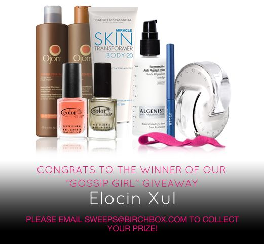 Congrats to Elocin Xul! Please email sweeps@birchbox.com to claim your prize!