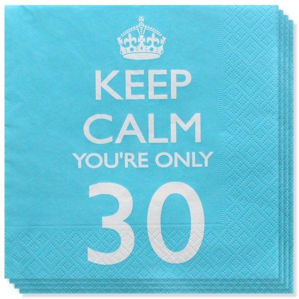 Keep Calm er et sjovt og farverigt tema til de voksnes fødselsdagfest! 18, 21 år og alle de runde fødselsdage fra 30 op til 80 år! Find dem hos MinTemaFest.dk #MinTemaFestdk #Festartikleronline Her ses Keep Calm Tema 30 år Servietter - Pakke med 20