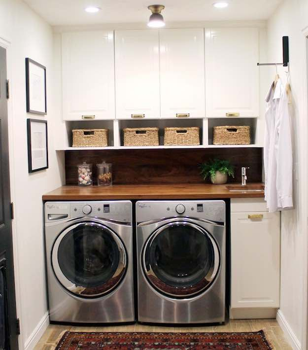 Wood accents laundry room ideas 21 different ways to for Amoblamientos para lavaderos