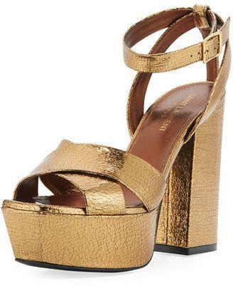 a78221fe510 Saint Laurent Farrah Crackled Metallic Leather Platform Sandal ...