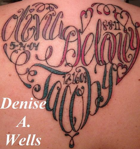 Names Made Into A Heart Shaped Tattoo By Denise A Wells Tattoos