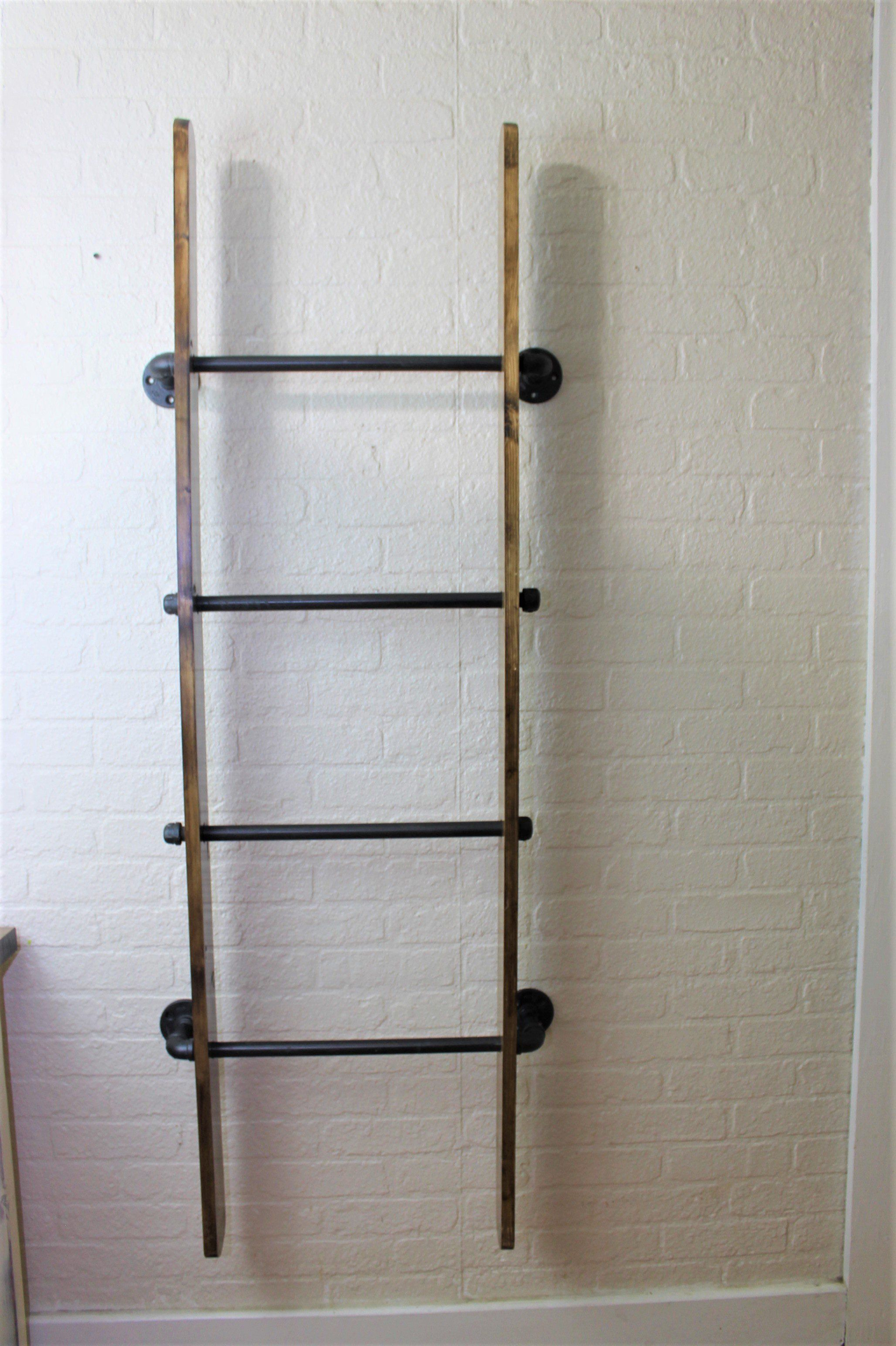 Industrial Metal and Wood Wall Ladder Blanket Ladder | Home in 2018 ...