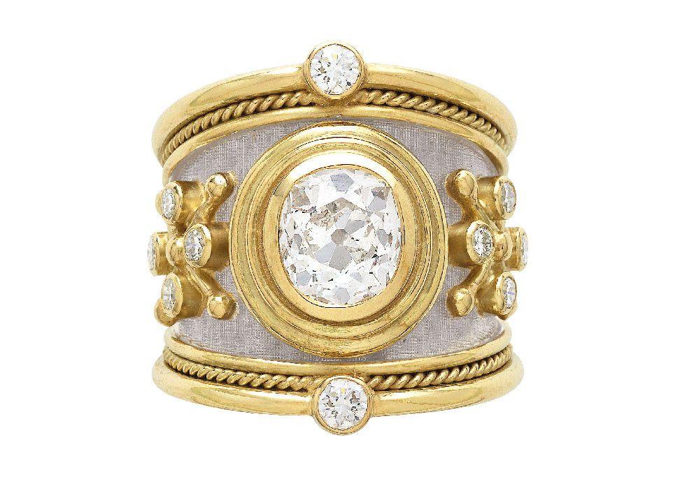 Old Cut Diamond Tapered Templar Ring