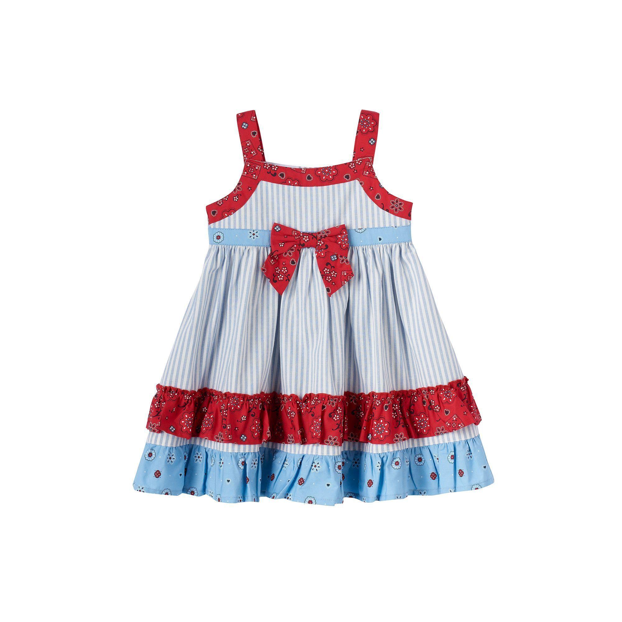 Baby Girl Blueberi Boulevard Patriotic Tiered Ruffle Dress Size 24