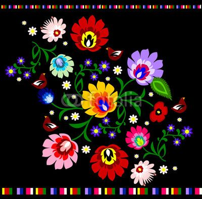 Traditional Polish floral folk pattern vector - Folklor - Fototapety ...