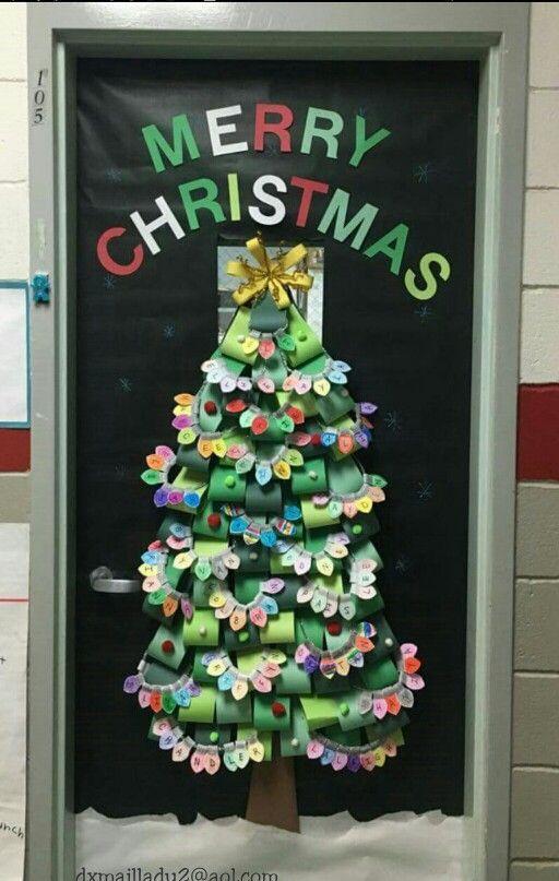 School Classroom Door Christmas Tree Each Student Made A Strand Of Ligh School Door Decorations Christmas Door Decorations Christmas Door Decorating Contest