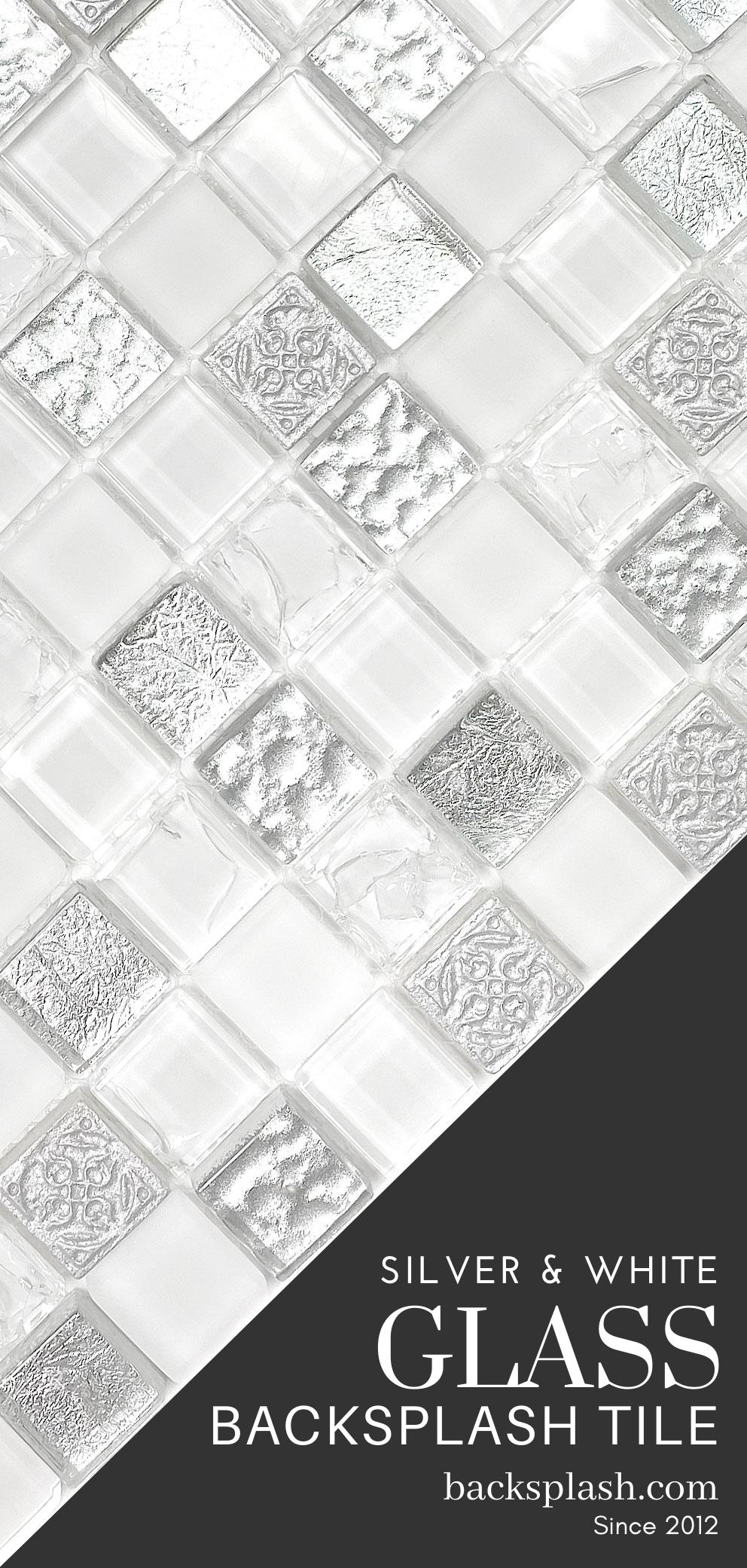 - White & Silver Color Elegant Glass Backsplash Tile Backsplash