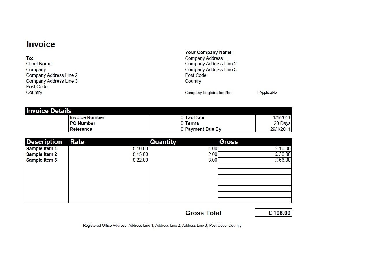 Format Of An Invoice Free Invoice Templates For Word Excel Open - Free invoice templates excel