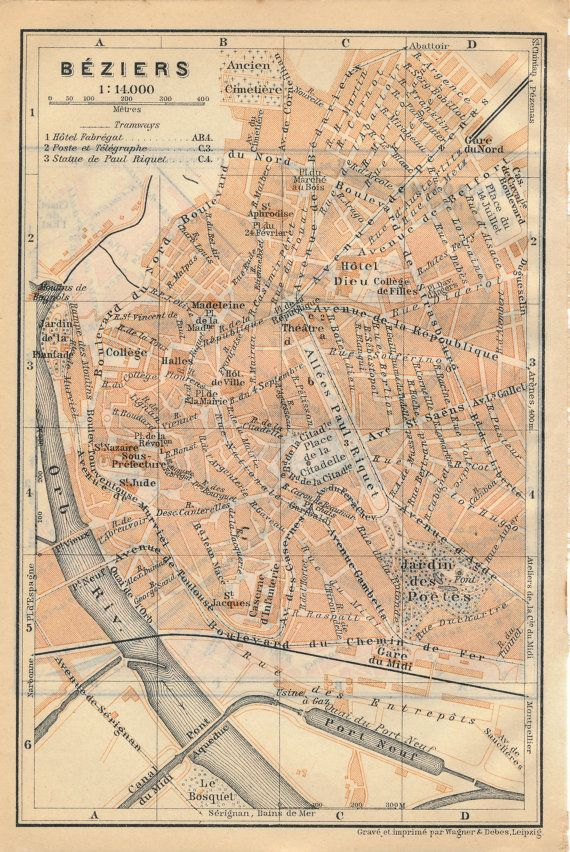 1914 Antique Map of Beziers France by Figure10 on Etsy Antique