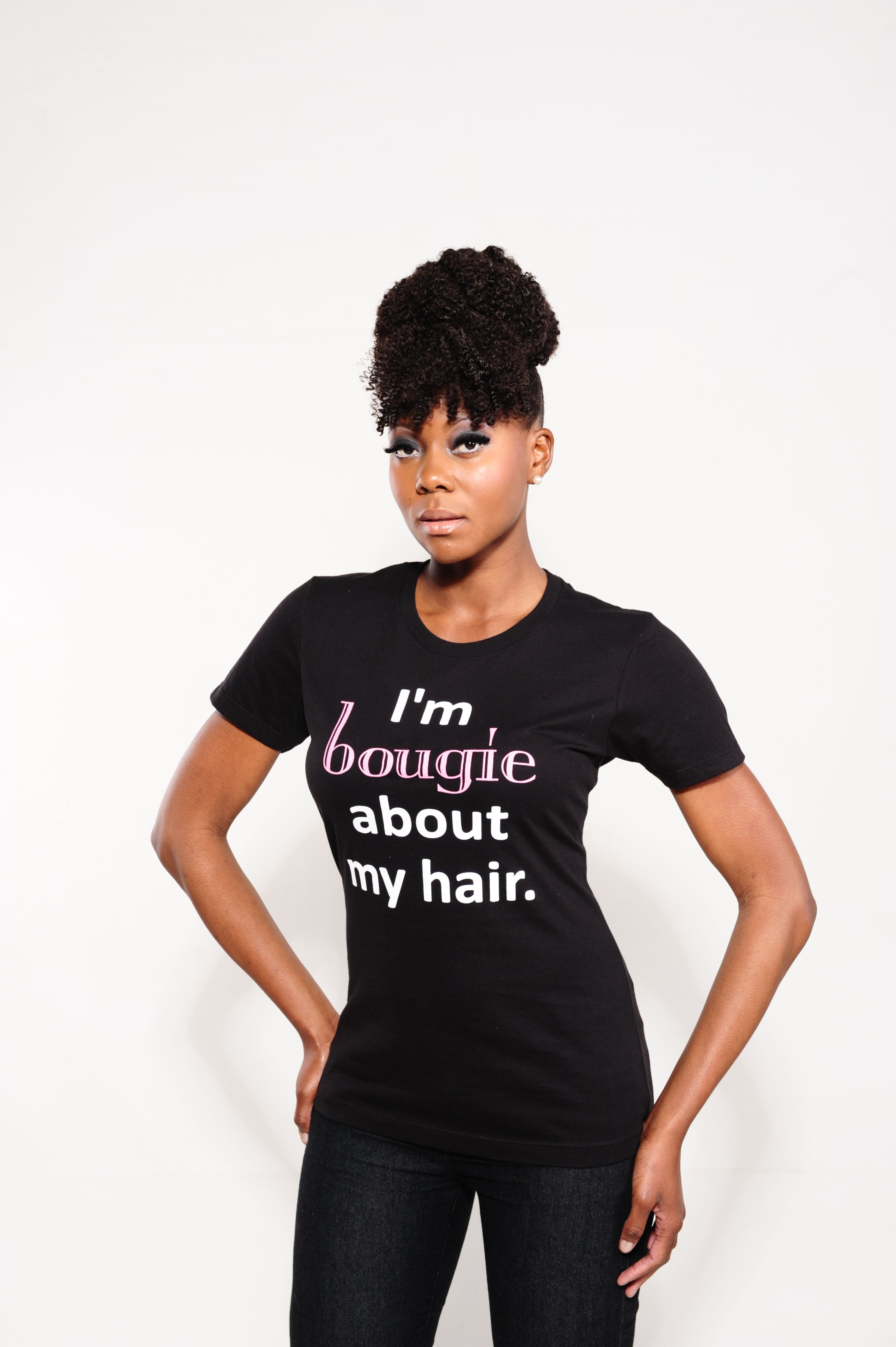Im black t shirt -  I M Bougie About Of My Hair T Shirt In Black