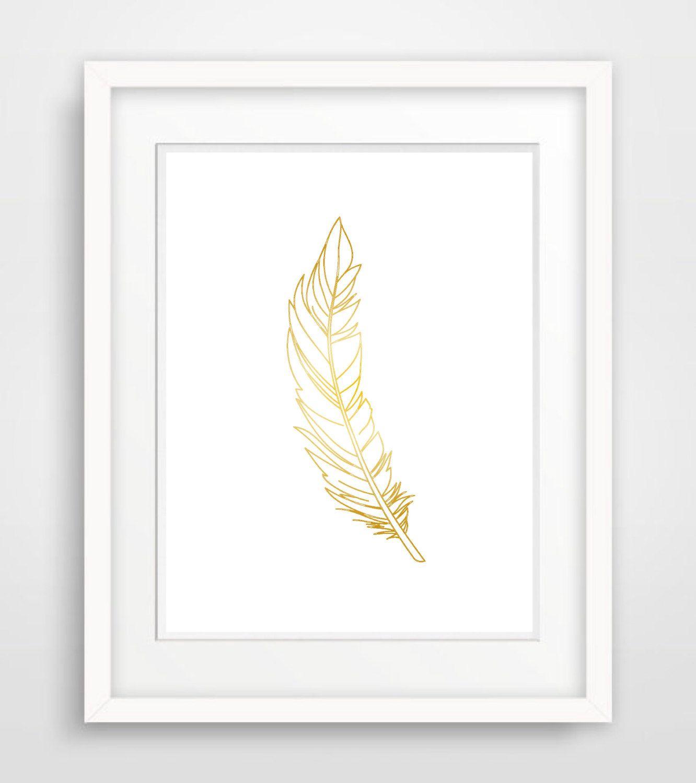 Printable Faux Gold Foil Art Print, Gold Wall Decor, Printable