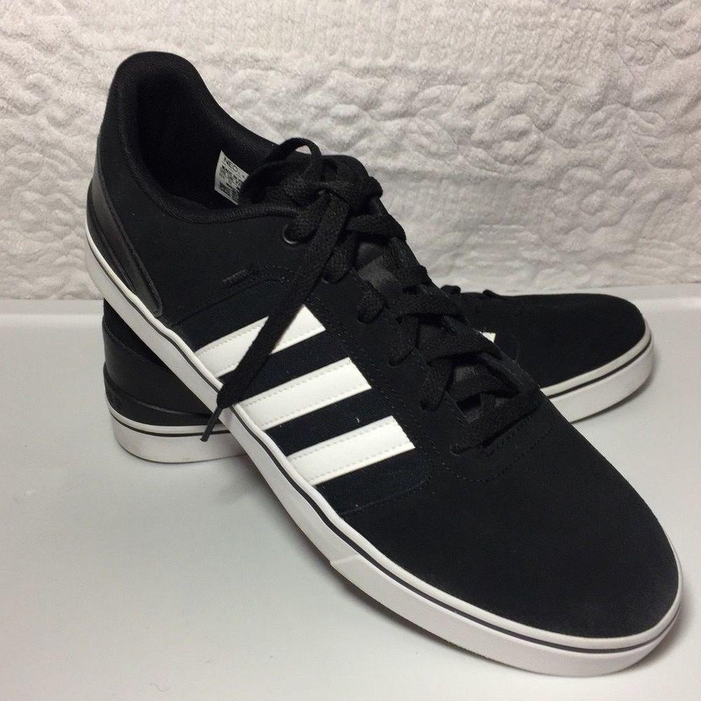 Adidas Men's Black White Stripes Suede