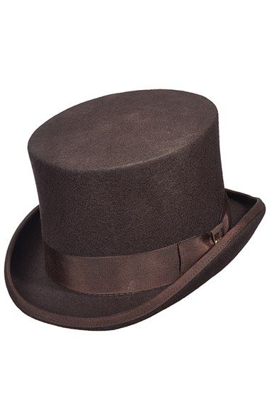 3adb0658f99 Brown Victorian men s top hat  Mens Scala Wool Felt Top Hat - Brown  83.00  AT vintagedancer.com
