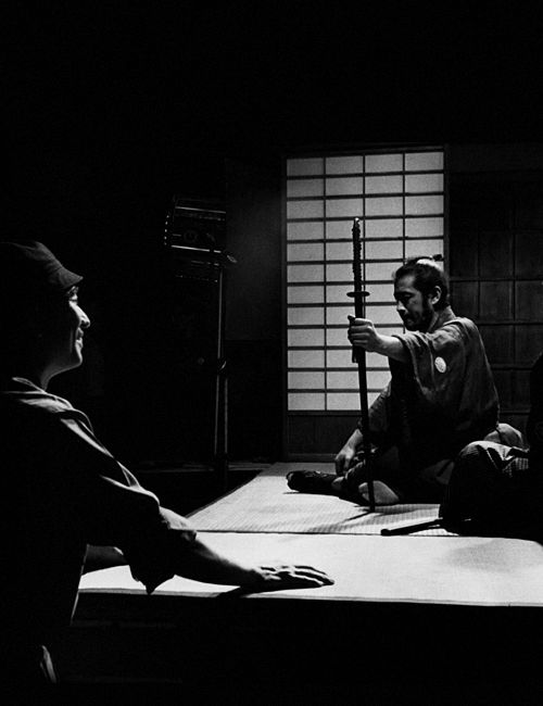 kurosawa-akira:  Akira Kurosawa and Toshiro Mifune on the set of Sanjuro (1962).