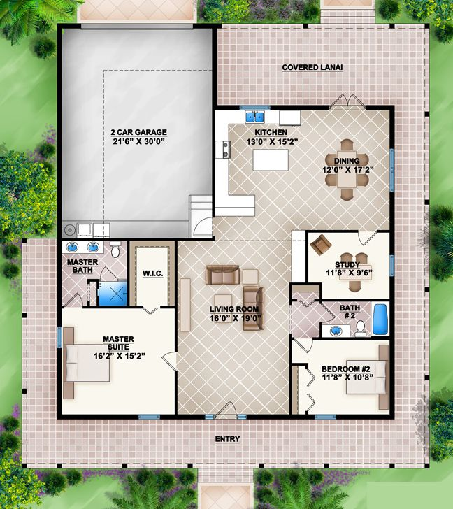 House Plan 207 00007 Country Plan 1 738 Square Feet 2 Bedrooms 2 Bathrooms Porch House Plans Simple House Plans House Plans One Story