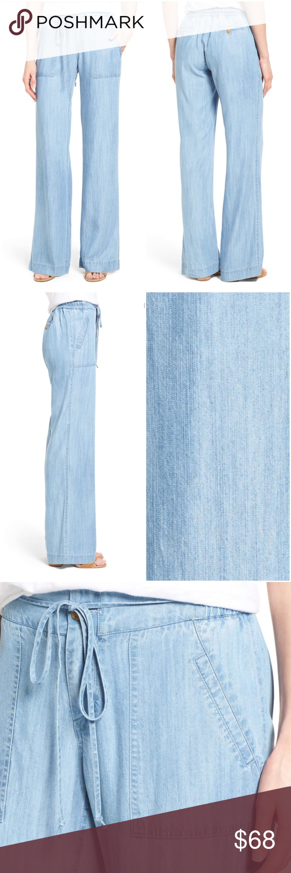 Kut From The Kloth Chambray Wide Leg Pants Lightweight Denim Wide Leg Pants Clothes Design