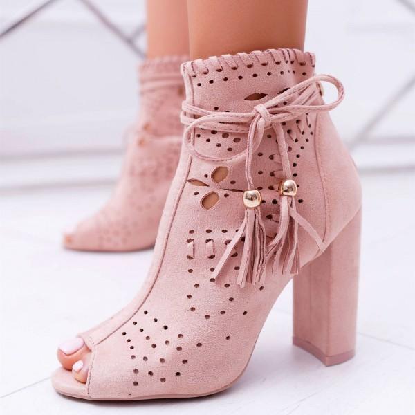 Women Low Heel Ankle Booties Slip On Vegan Suede Leather