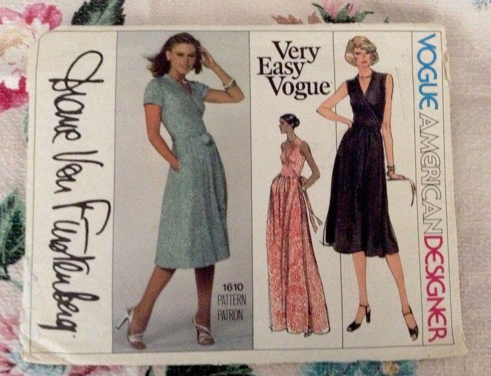 VAD Vogue 1610 Diane Von Furstenberg Wrap Dress 70s c/c Famous 1pc wrap dress Sz12/34 sld 37.55+2.75 3bds 6/28/15
