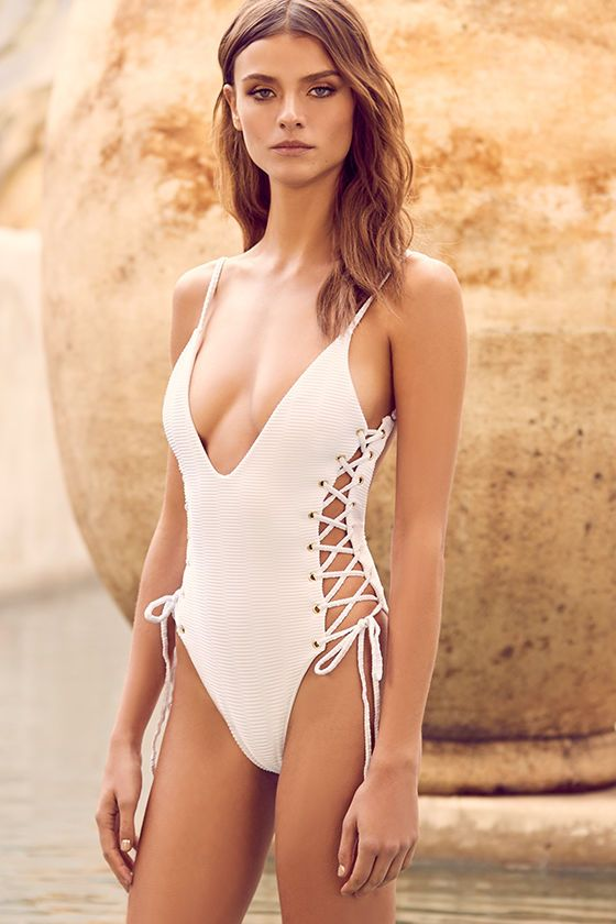 You Re Bound To Love The Blue Life Roped Up White Lace Up One Piece Swimsuit Stretch Knit With A Cool Ribbed Texture Fo One Piece One Piece Swimsuit Fashion
