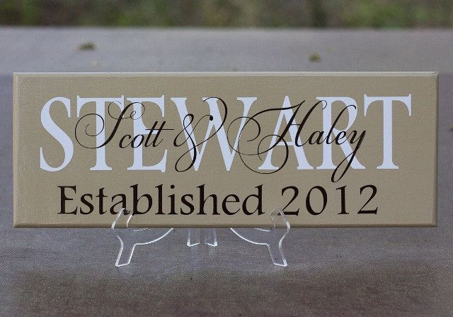 Personalized Family Name Sign Wood With Established Date Great For Wedding Gift