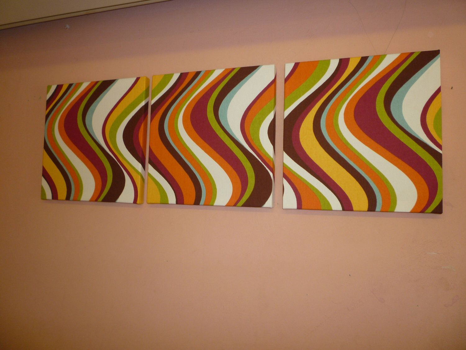 Fabric Wall Art Orange Red Green Blue Yellow Brown By