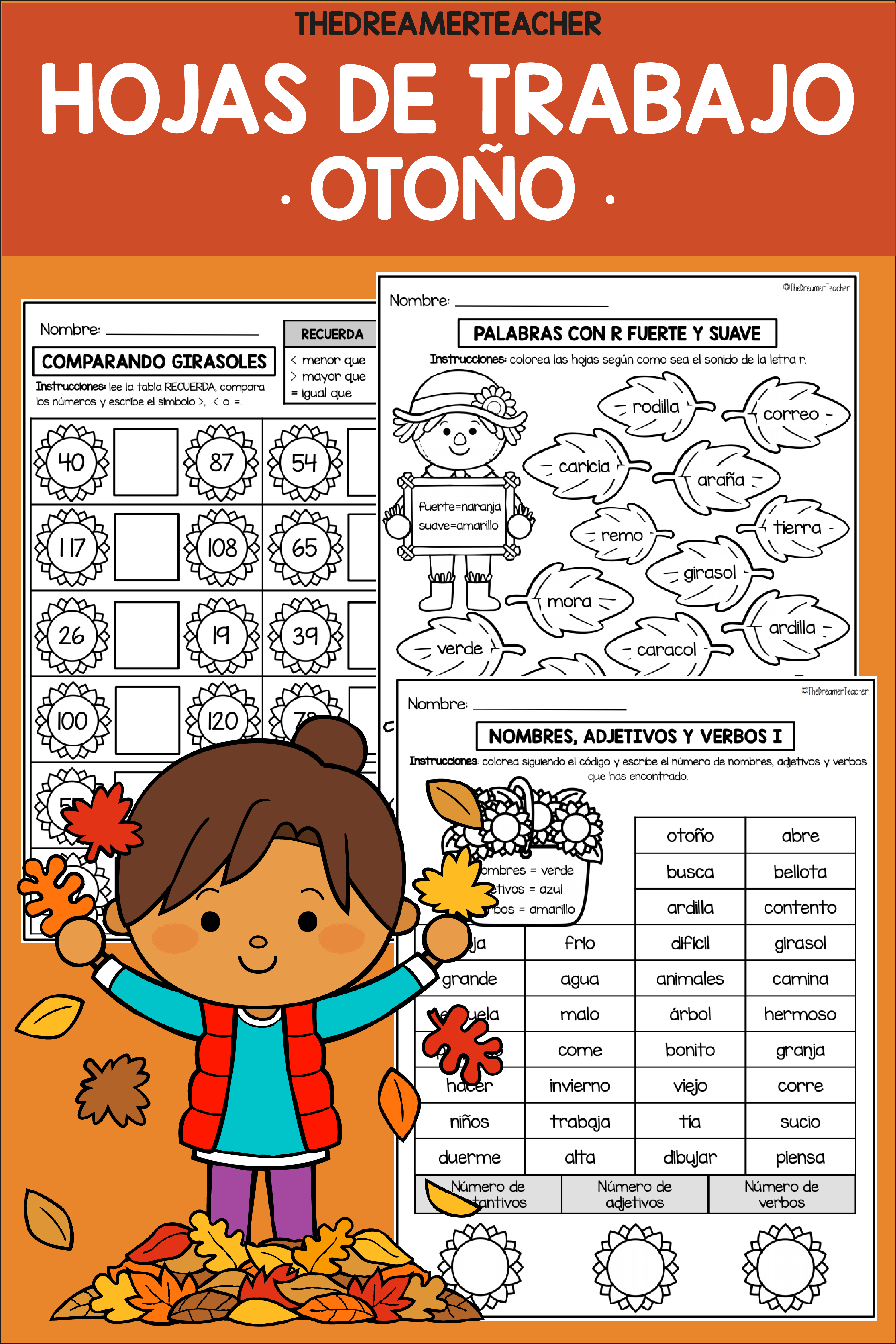 Fall Spanish Worksheets Math And Language Activities