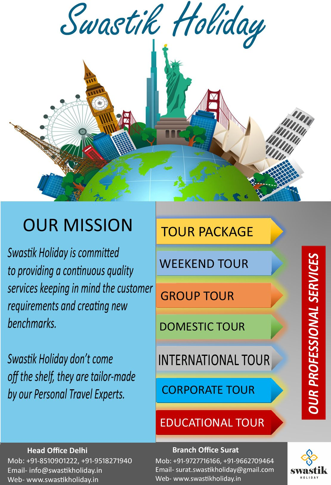 Swastik Holiday Tour Travel Agency Our Professional Services Tour Package Group Tour Domestic Tour In Tour Packages Holiday Tours Educational Tours