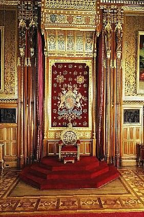 inside buckingham palace queens room throne in the queen. Black Bedroom Furniture Sets. Home Design Ideas