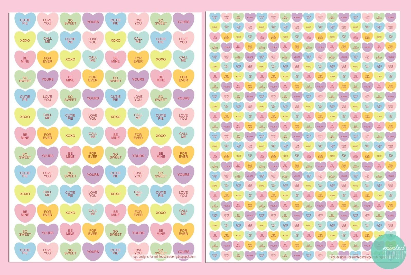 Free Printable Candy Hearts Wrappers With Matching Tags Mintedstrawberryspot