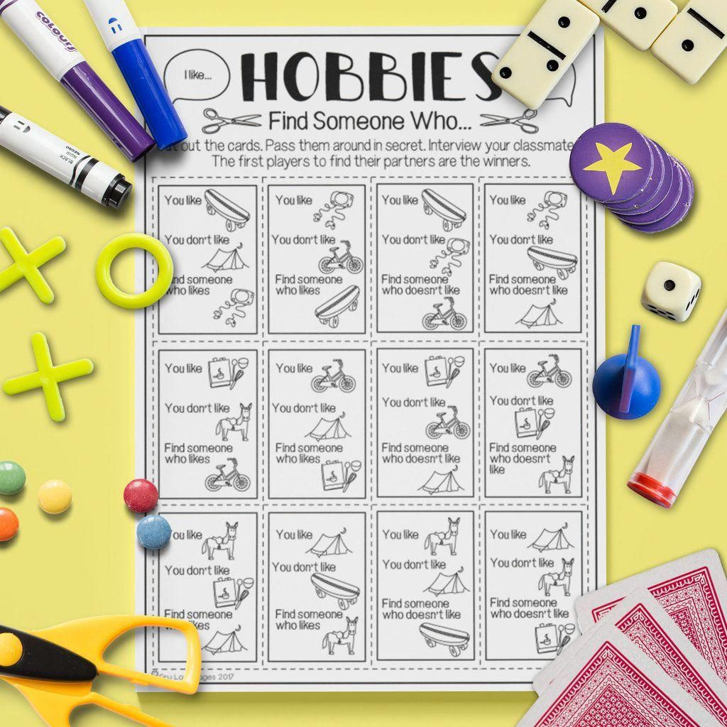Esl Kids Hobbies Find Someone Who Game Worksheet Esl