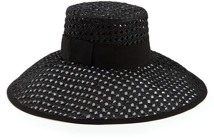 c86a3e5ef5b739 Kate Spade crochet wide-brim sun hat, black on shopstyle.com ...