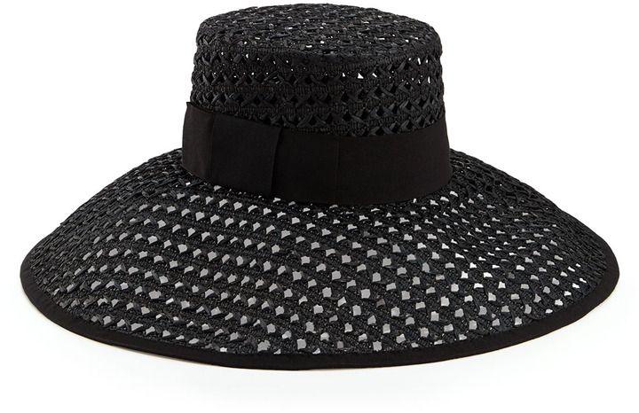 e4136930 Kate Spade crochet wide-brim sun hat, black on shopstyle.com Women's Hats