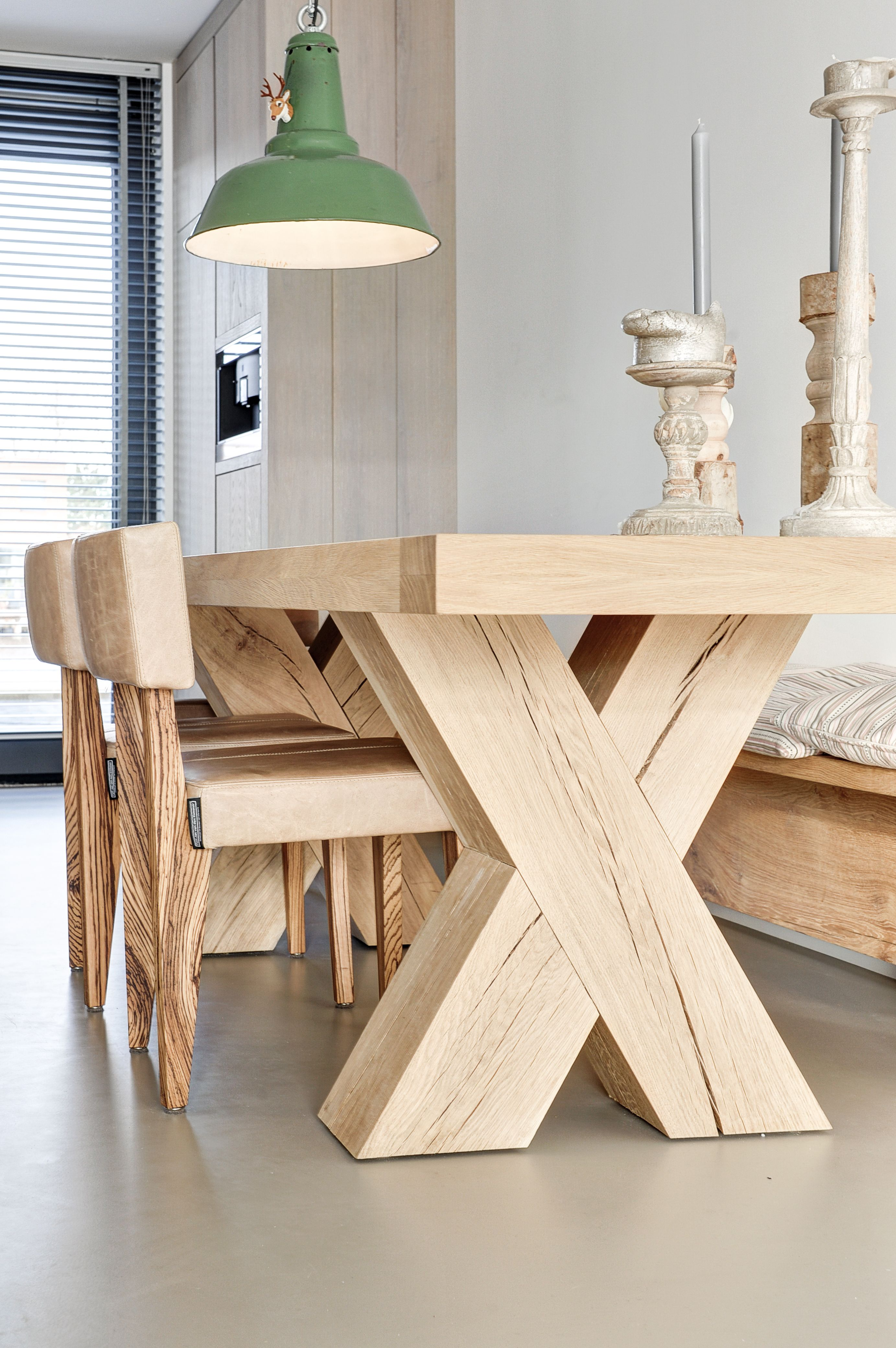 LOVE the super chunky natural wood table with modern lines. Modern ...
