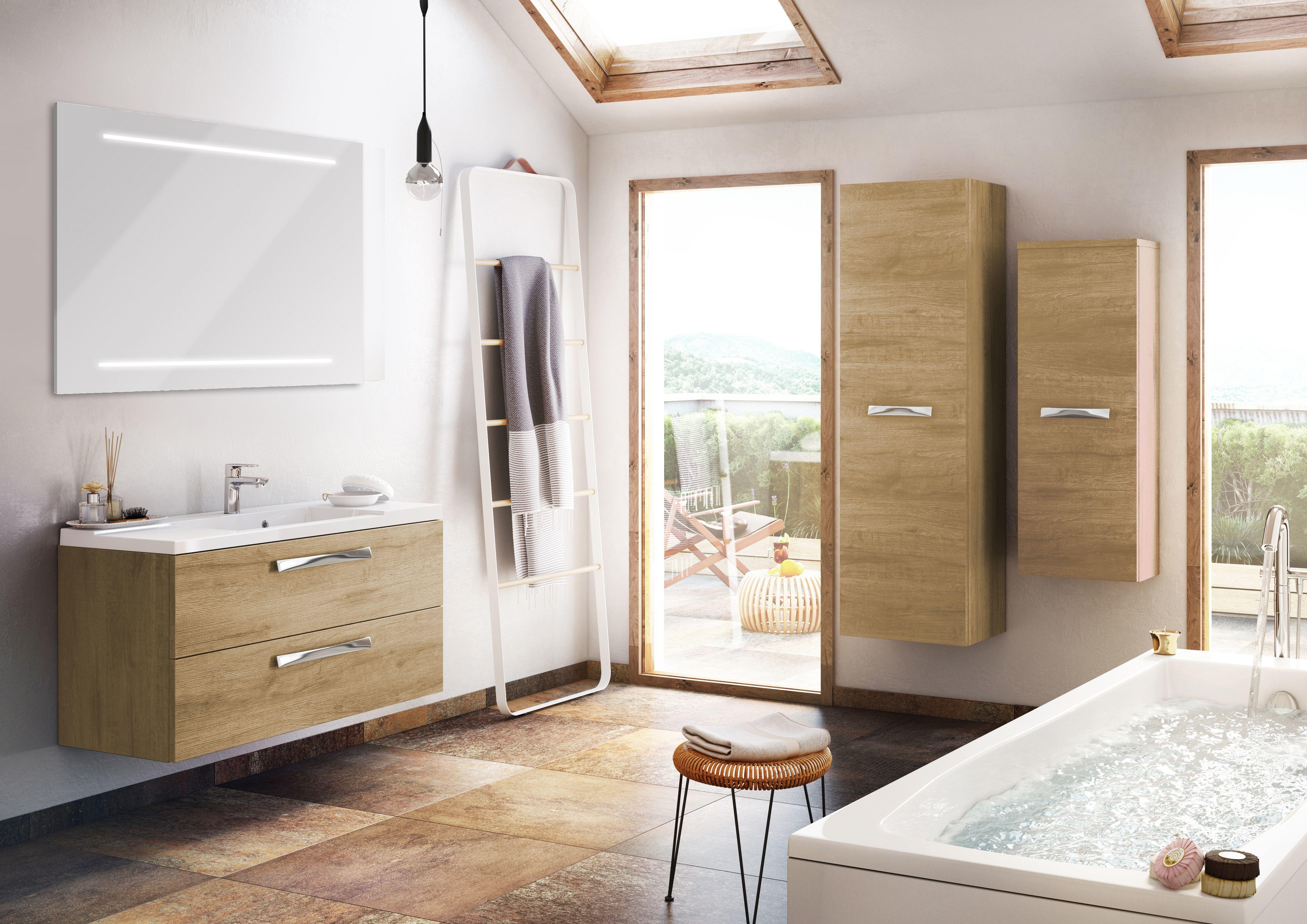 Meuble salle de bain #nature façon #bois pour une #ambiance #cosy et ...