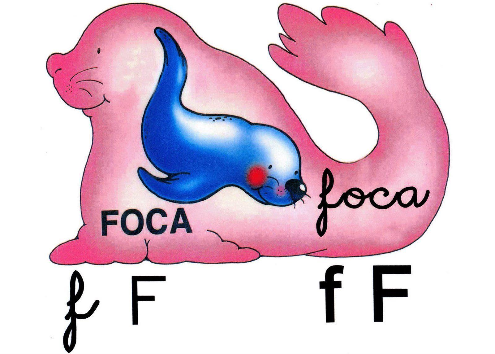 Letra f minúscula, F mayúscula. Foca.   Education   Pinterest ...