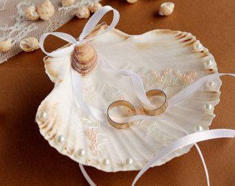 Ring Bearer Whelk Shell Wedding Ring by CeShoreTreasures on Etsy