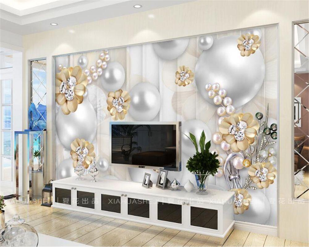Beibehang Custom Wallpaper Gold Diamond Flower 3d Jewelry Background Wall Living Room Bedroom Tv Backg 3d Wallpaper Home Wallpaper Living Room Custom Wallpaper