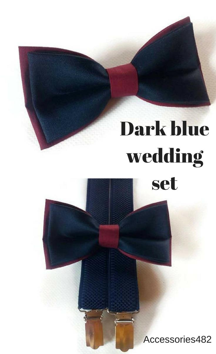 61439c38c546 $19.95 Set of bow tie and suspenders Navy elastic Y-back suslenders and  double-layered bow tie For groom and groomsmen #groom #groomsmen #burgundy