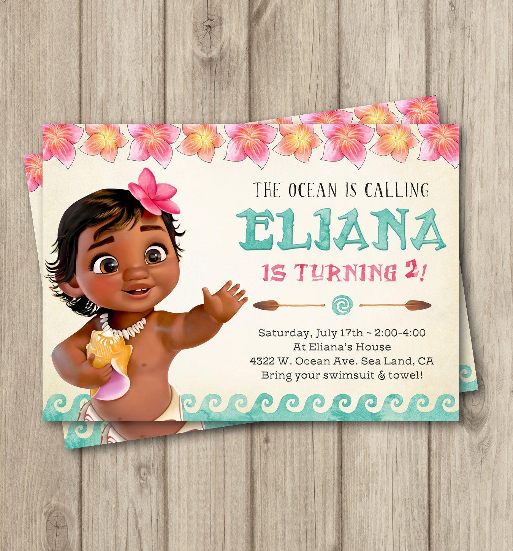 MOANA BIRTHDAY INVITATION Baby Moana Invitation
