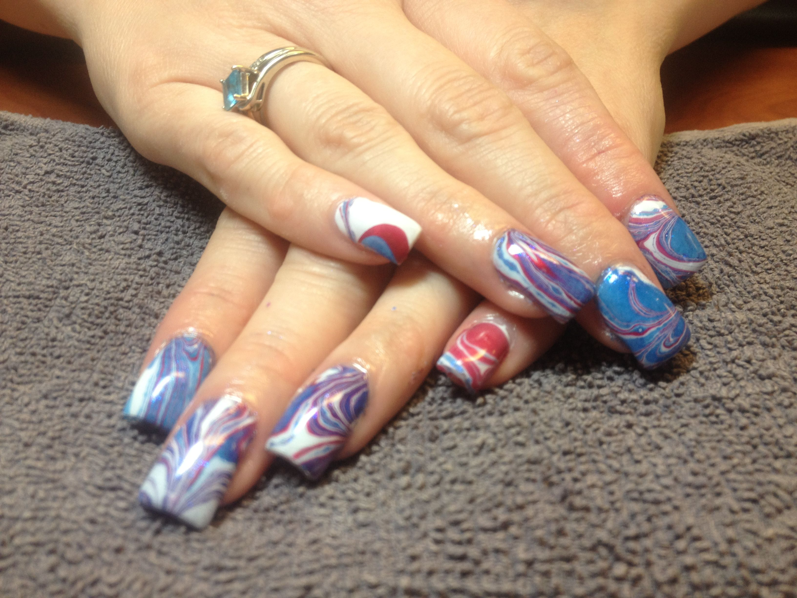 Water marbling 4th of July nails