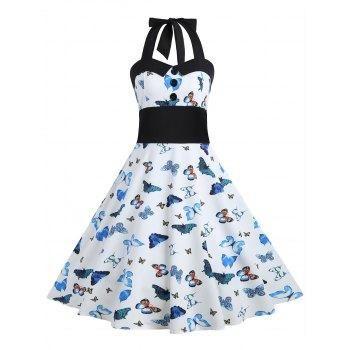 bc8d5f0bd1 DressLily - Dresslily Butterfly Print Halter Vintage A Line Dress -  AdoreWe.com