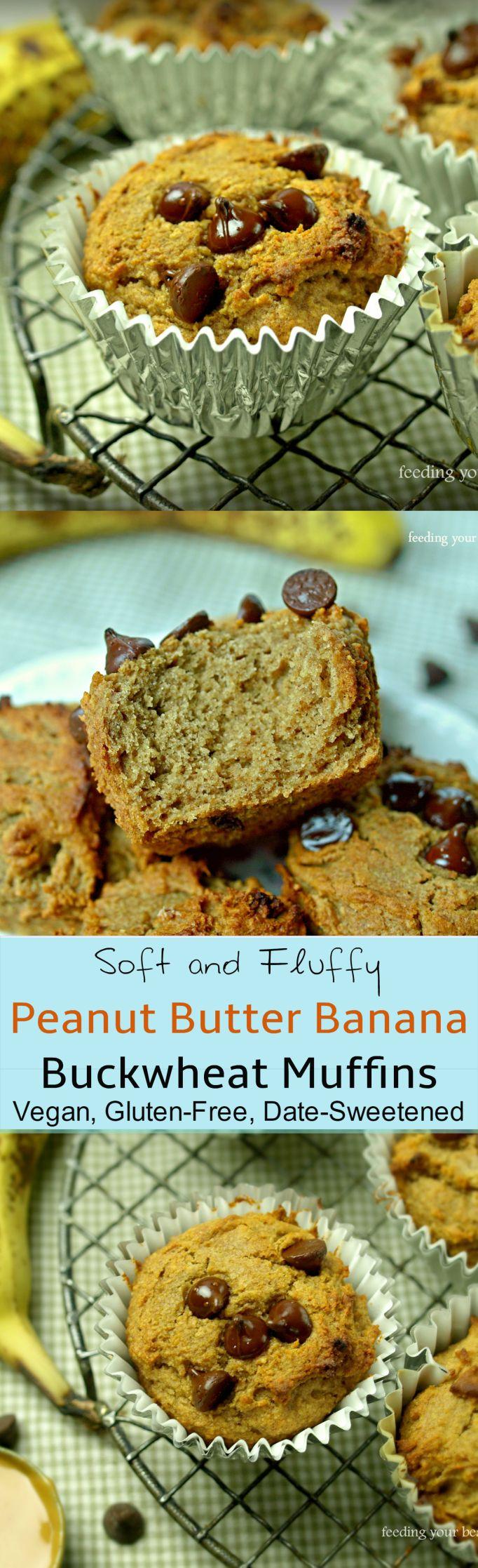 Peanut Butter and Banana Buckwheat Muffins - gluten free and vegan