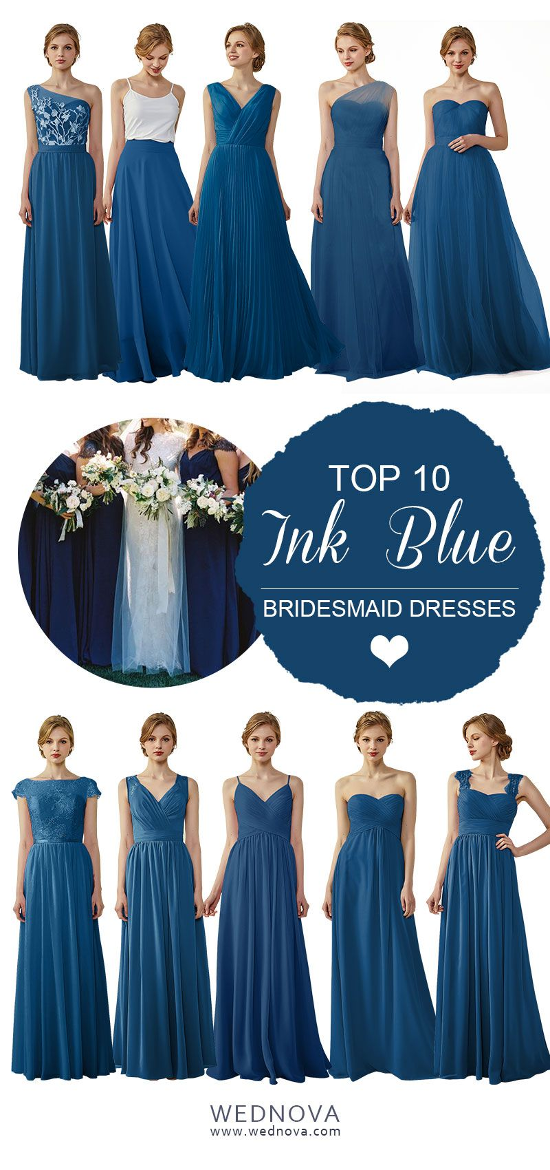 unique chiffon one shoulder bridesmaid dress ink blue v neck