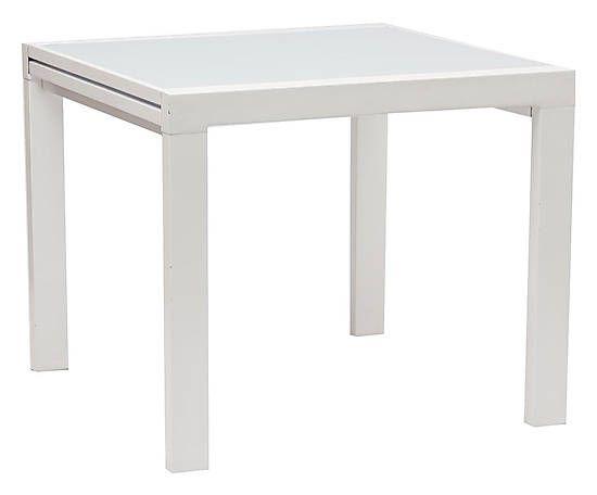 Tavolo allungabile in metallo e vetro joyce bianco min