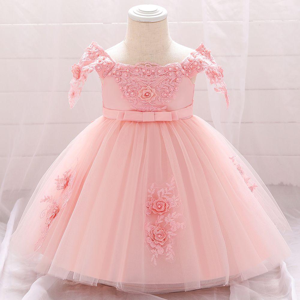 Baby Girls Princess Dress 1st Birthday Dress Outfit Wedding Christmas Party Dress hat Headband Tights Shoes Set